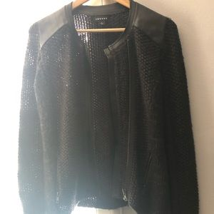 Trouve knit jacket with faux leather detail